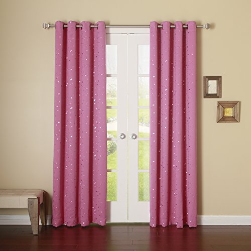 Best Home Fashion Star Foil Blackout Curtains - Antique Bronze Grommet Top - Pink - 52
