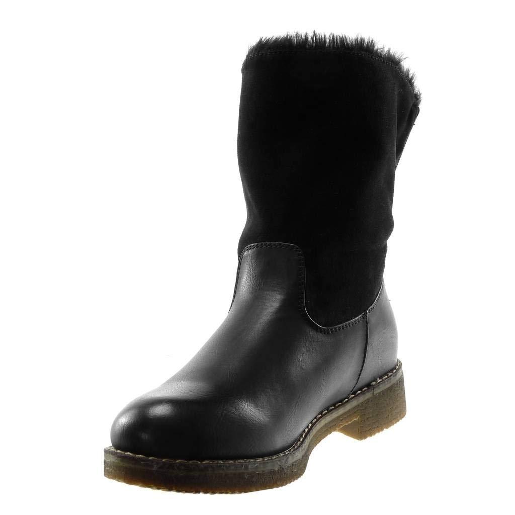 Angkorly - Damen Schuhe Stiefeletten - Schneestiefel - bi-Material - - - Pelz Blockabsatz 3.5 cm 7cf5b0