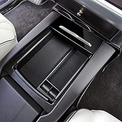 LMZX Model S Model X Wireless Charger Center Console Armrest Storage Box Holder Container Glove Pallet Tray for Tesla Model S Model X 2016 2020 2020 2020 (Armrest Box with Qi Wireless Charging): Automotive