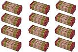 Value Pack: 12 Kapok Block Cushions (Thai Fabric Plum&Olive) Handelsturm Original