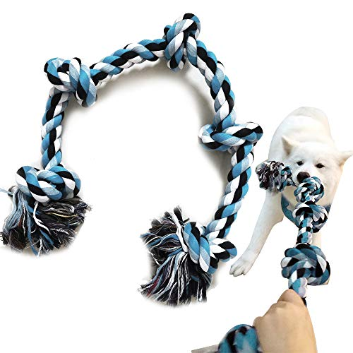 XL Dog Rope Toy for Aggressive Chewers - Medium and Large Dogs - 3 FEET Extra Large Dog Chew Toy, Nearly Indestructible Long Lasting Tug of War Dog Toy (XL)
