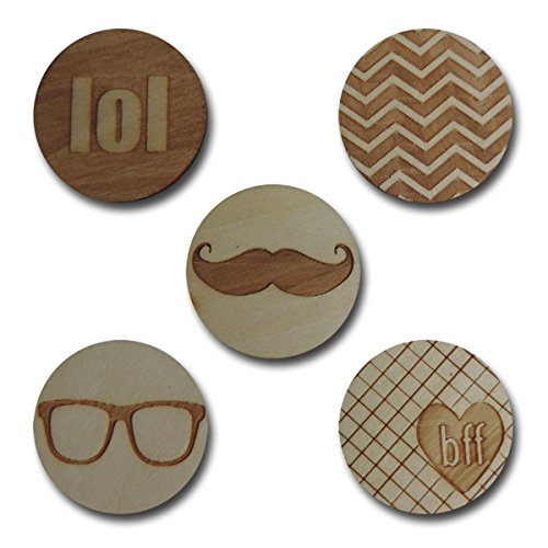 Maya Road WD3021 Wood Trendy Tokens, 10-Pack