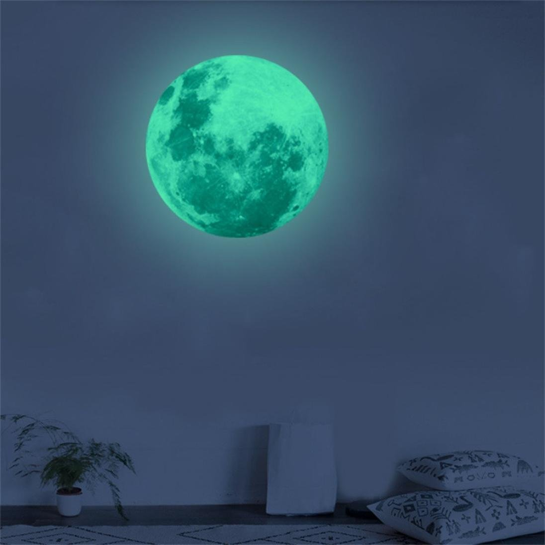 [ 3D ] Large Moon Sticker [ Fluorescent ] Planet Wall Sticker Removable [ Glow in The Dark ] Stickers 40cm (E) by Anshinto (Image #3)