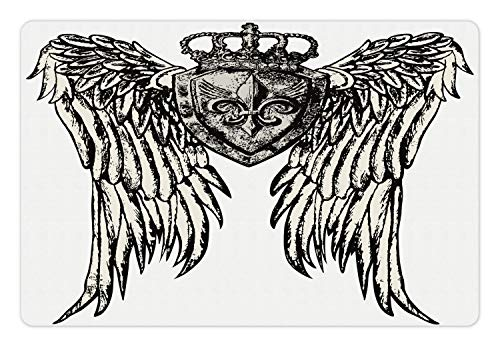 - Lunarable Fleur De Lis Pet Mat for Food and Water, Tribal Tattoo Design with Wings Historic Crest Figure Crown and Eagle, Rectangle Non-Slip Rubber Mat for Dogs and Cats, Eggshell Black
