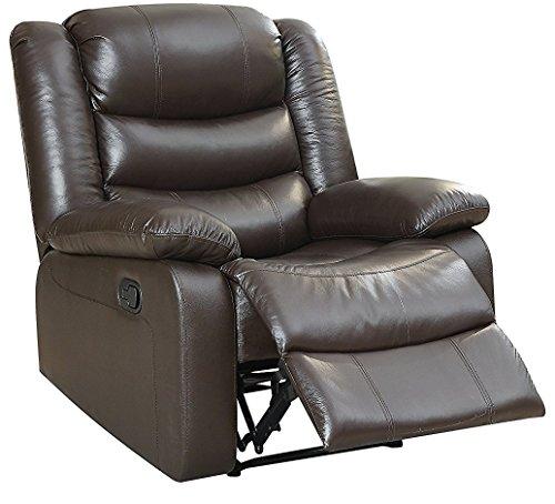 Major-Q Furniture Cozy Leather Recliner, Espresso Top Grain Leather (MQ-59472) Espresso Top Grain Leather