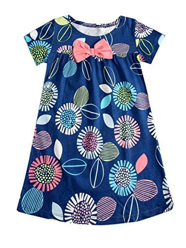 Little Girls Summer Cotton Floral Print Short Sleeve Dress Kids Summer Jersey Dress 4T ()