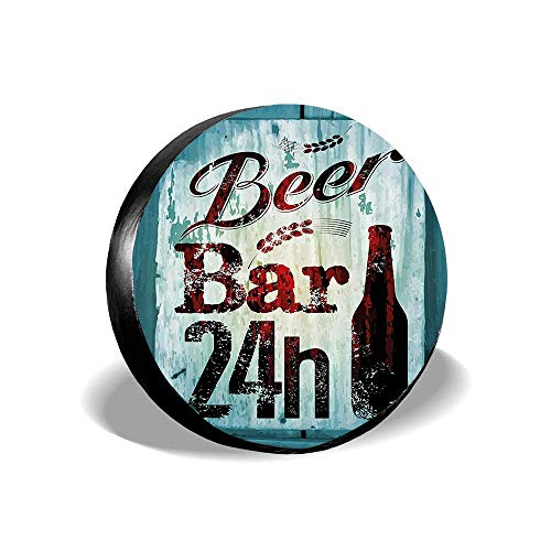 MichelleSmithred Grunge Beer Bar 24h Figure Old Pub Sign Emblem Restaurant Graphic Design Spare Tire Cover Waterproof Dust-Proof(Fit 14 15 16 17 Inches)