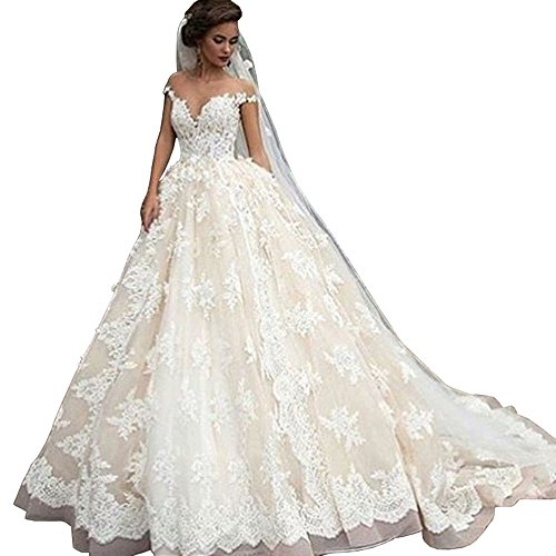 Lovelybride Bateau Cap Sleeve Lace Appliques Ball Gown Wedding Dress for Bride