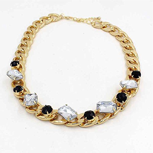 elebrity Style Alloy Choker Necklace Stones Inlaid Gold Chunky Chain(One Size) ()