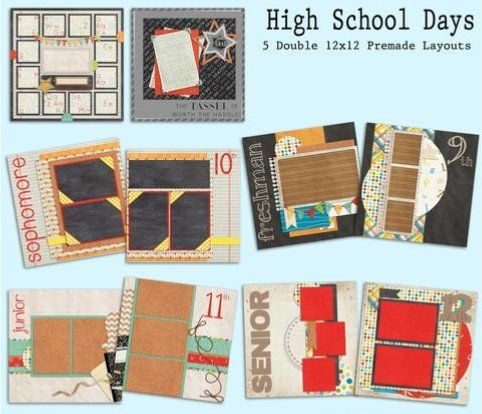 High School Scrapbook Kit - 5 Double Page Layouts