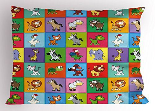 Ambesonne Nursery Pillow Sham, Group of Funny Young Animals in Colorful Squares Happy Cartoon Wildlife Collection, Decorative Standard Queen Size Printed Pillowcase, 30 X 20 Inches, (Wild Animals Sham)