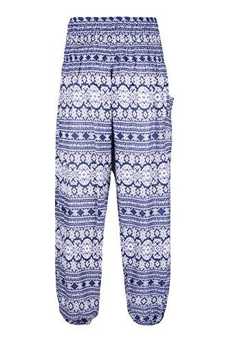 Donna Waist Harem Smocked Pantaloni Boho Scuro Yoga Elefante Geometric Lofbaz Pilates Blu 5IAqgwaq