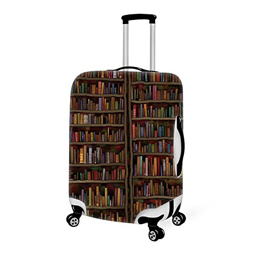 (Spandex/Polyester Luggage Cover Vintage Library Bookshelf Bookcase Carry On Cover Protector Anti-Scratch Dustproof for 18/20/22/24/26/28 Inch)