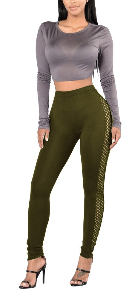 Women's High Waist Outdoor Yoga Pants Fitness Cutout Tights Workout Leggings Army Green S