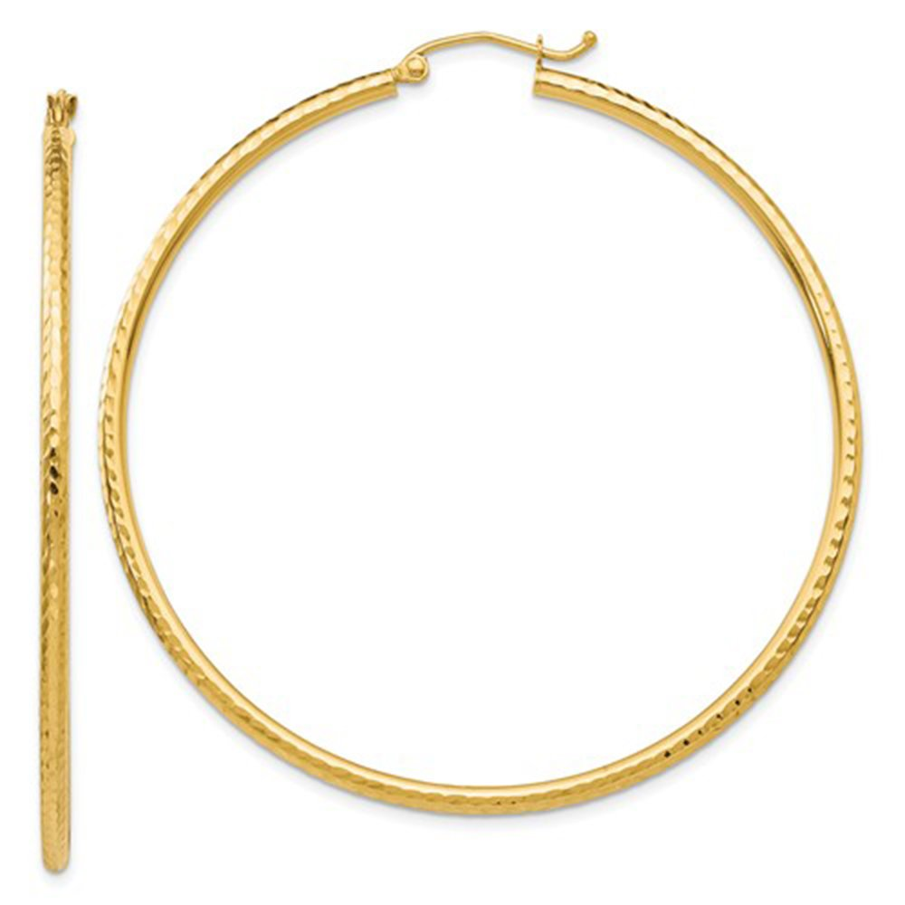 Large 14K Yellow Gold Diamond Cut Hoop Earrings, 55mm (2mm Tube)