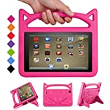 Fire 7 Tablet Case - Bromee Light Weight EVA Shock Proof Handle Friendly Folodable Stand Kids Case for Kindle Fire 7 Inch Display Tablet(Compatible with 7th Generation & 5th Generation) - Pink