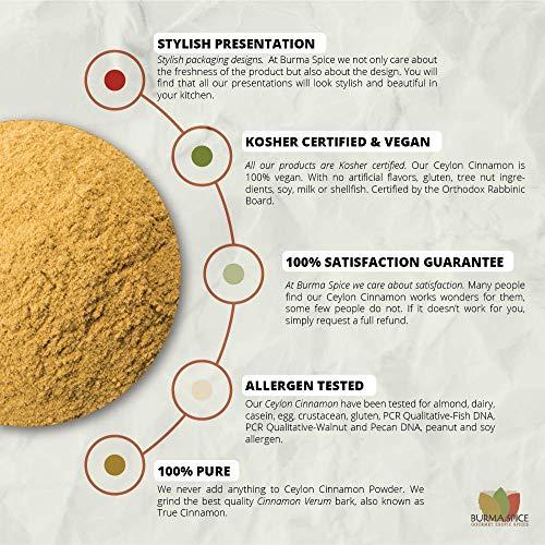 Ground Ceylon Cinnamon | Very freshly ground | Highest Premium Grade | 100% Pure with no additives | Kosher Certified (50oz) by Burma Spice (Image #3)