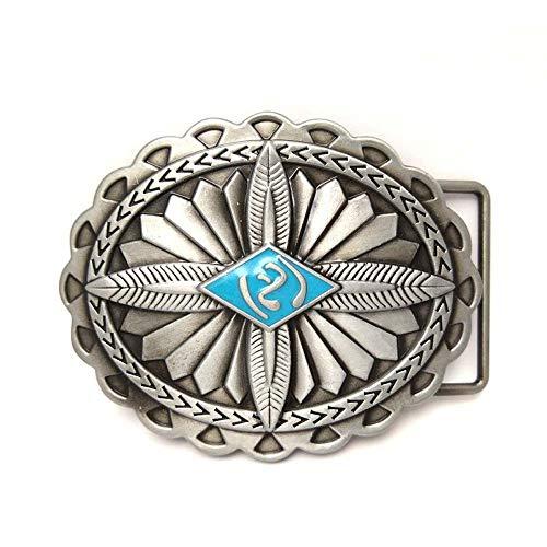 - Western cowboy belt buckle for belt accessories Custom buckle (Silver Oval Shape Blue Stone Eye)