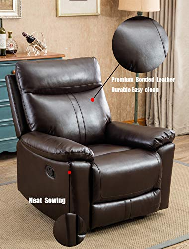 ANJ Leather Recliner Chair Padded Durable Recliner Chair for Living Room  Ergonomic Single Seat Reclining Sofa - Brown