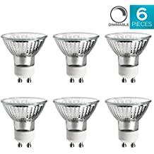 Luxrite LR20590 (6-Pack) 50W/GU10/120V 50-Watt MR16 Halogen Light Bulb, Glass Cover, Dimmable, 450 Lumens, GU10 base