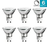 Luxrite LR20490 (6-Pack) 35W/GU10/120V 35-Watt MR16 Halogen Light Bulb, Glass Cover, Dimmable, 320 Lumens, GU10 base