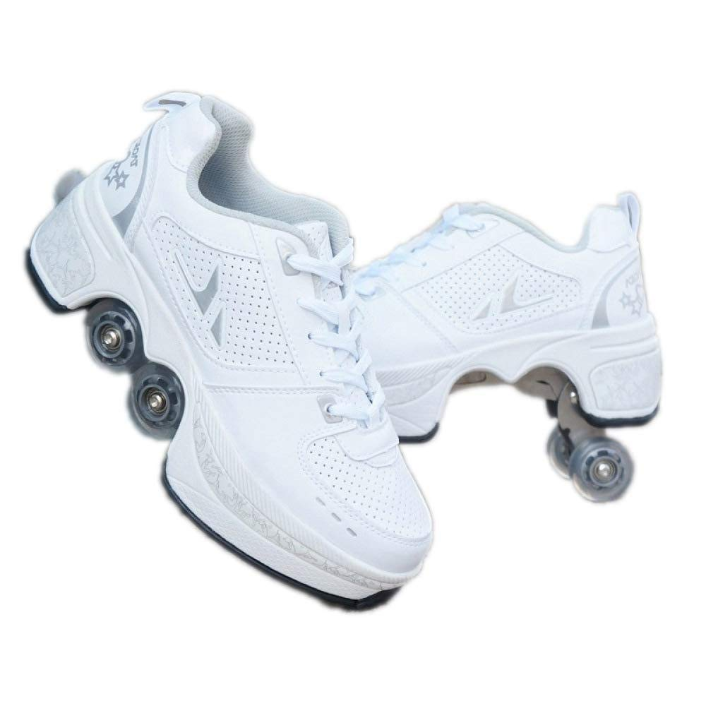 2 In 1ローラースケートの男性と女性のスニーカーファッション通気性ランニングシューズ滑り止め格納式プーリースケート/ダンス/クリスマス,43