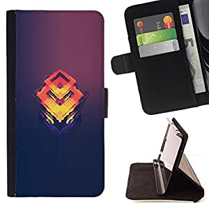 Momo Phone Case / Flip Funda de Cuero Case Cover - Naranja Cubo Fundido;;;;;;;; - HTC One M8