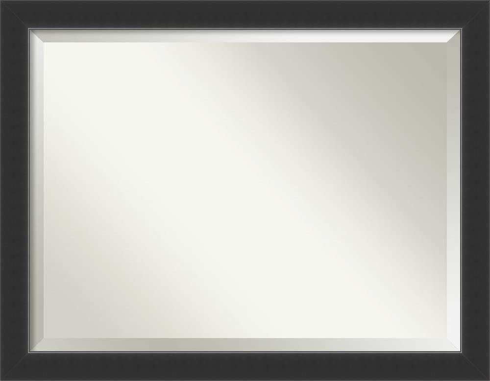 Amanti Art Framed Vanity Mirror   Bathroom Mirrors for Wall   Corvino Black Mirror Frame   Solid Wood Mirror   X-Large Mirror   35.00 x 45.00 in.