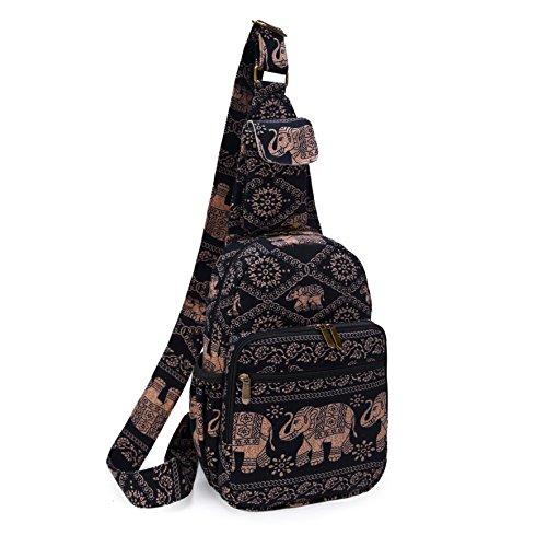 MIANZI Women Sling Bag Outdoor Sport Canvas Large capacity Crossbody Shoulder Cotton Fashion Backpack (Black) by MIANZI (Image #1)