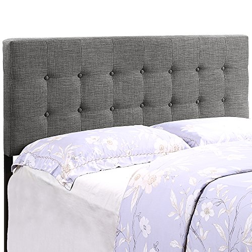 HOME BI Upholstered Tufted Button Linen Fabric Headboard Full/Queen Size(Dark Grey) by HOME BI