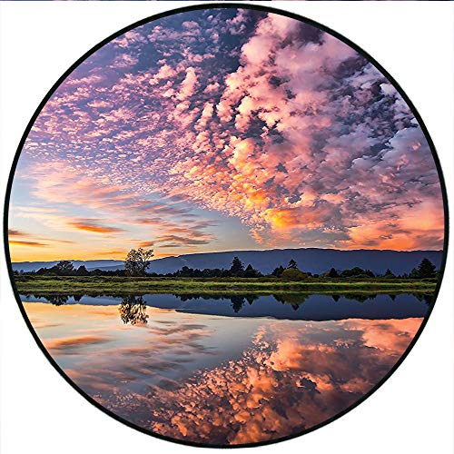 Short Plush Round Rug Magical Reflection of Pink Colored Clouds in Water Mirroring Scenic Weather Activity Picture Blue Living Room Coffee Table 35.4