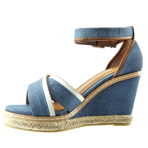 Angkorly - Zapatillas de Moda Sandalias alpargatas bimaterial zapatillas de plataforma mujer acabado costura pespunte Talón Plataforma 10 CM - Azul