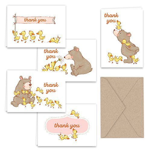 Bear and Ducks Thank You Note Card Collection 25 pack with Kraft Envelopes ()