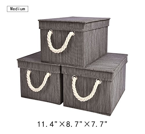 Storage Bin with Lid, Foldable Basket Organizer With Strong Cotton Rope Handle By StorageWorks, Dark Brown, Bamboo Style, Medium, 11.4x8.7x7.7 inches, 3-Pack