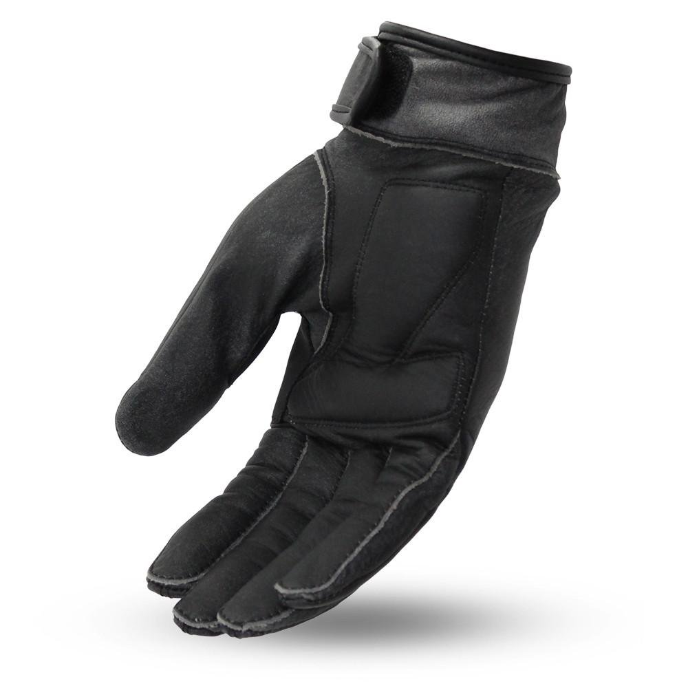 Black, XS First Mfg Co Mens Marfa Leather Motorcycle Touch Tech Finger Gloves