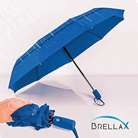 Compact Travel Umbrella by Brellax - Lightweight, Windproof, Reinforced Double Canopy, Auto Open / Close Folding, Ergonomic Handle, Carrying Case Included - Navy - Classic Spring Club Chair Frame