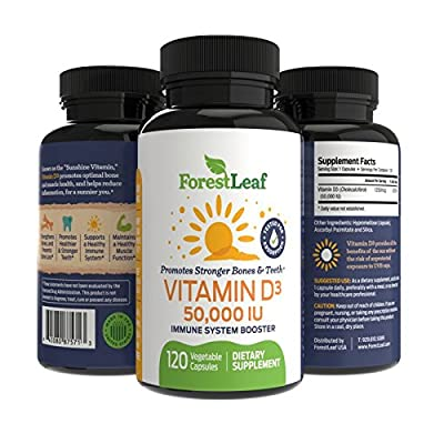 Vitamin D3 50,000 IU Daily Supplement - 120 Vegetable Capsules - Helps Boost and Strengthen Bones, Teeth, Immune System and Muscle Function - by ForestLeaf