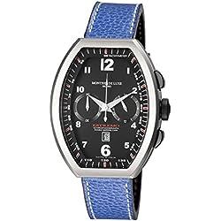 Montres De Luxe Men's EXN 8003 BLU Black leather Band Watch.