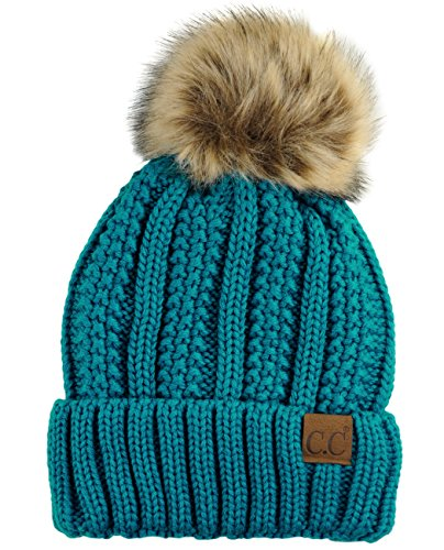 C.C Thick Cable Knit Faux Fuzzy Fur Pom Fleece Lined Skull Cap Cuff Beanie, Teal