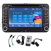 Pupug Wince 8.0 7 inch Double Din HD Touch Screen Car DVD Player for VW Jetta 2010-2012 In Dash GPS Navigation Stereo support Bluetooth/SD/USB/FM/AM Box/Steering Wheel Control