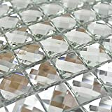 Mirror Tiles Silver Bathroom Wall Sheets Crystal Diamond Mosaic Tile Backsplash Kitchen Bevel glass Subway Home Improvement Materials (1PCS Small Sample 2.8x5.9 Inches)