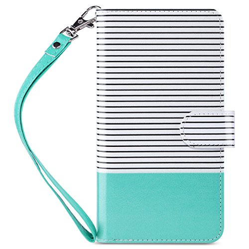 ULAK Flip Wallet Case for iPhone 6 Plus / 6S Plus 5.5 inch, Folio PU Leather Wallet Case with Multi Credit Card Holders Pockets Magnetic Closure Cover Wrist Strap, Mint Minimal Stripes