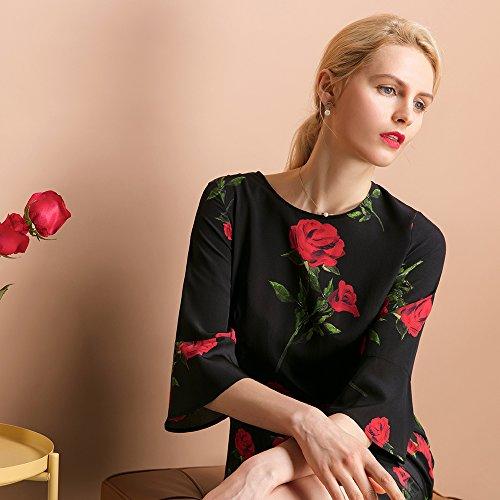 Damen Partykleider Momme 18 Elegante aus Knielang Etuikleider Seidenkleider LilySilk Halbarm Seide Rose Fq4XwBH