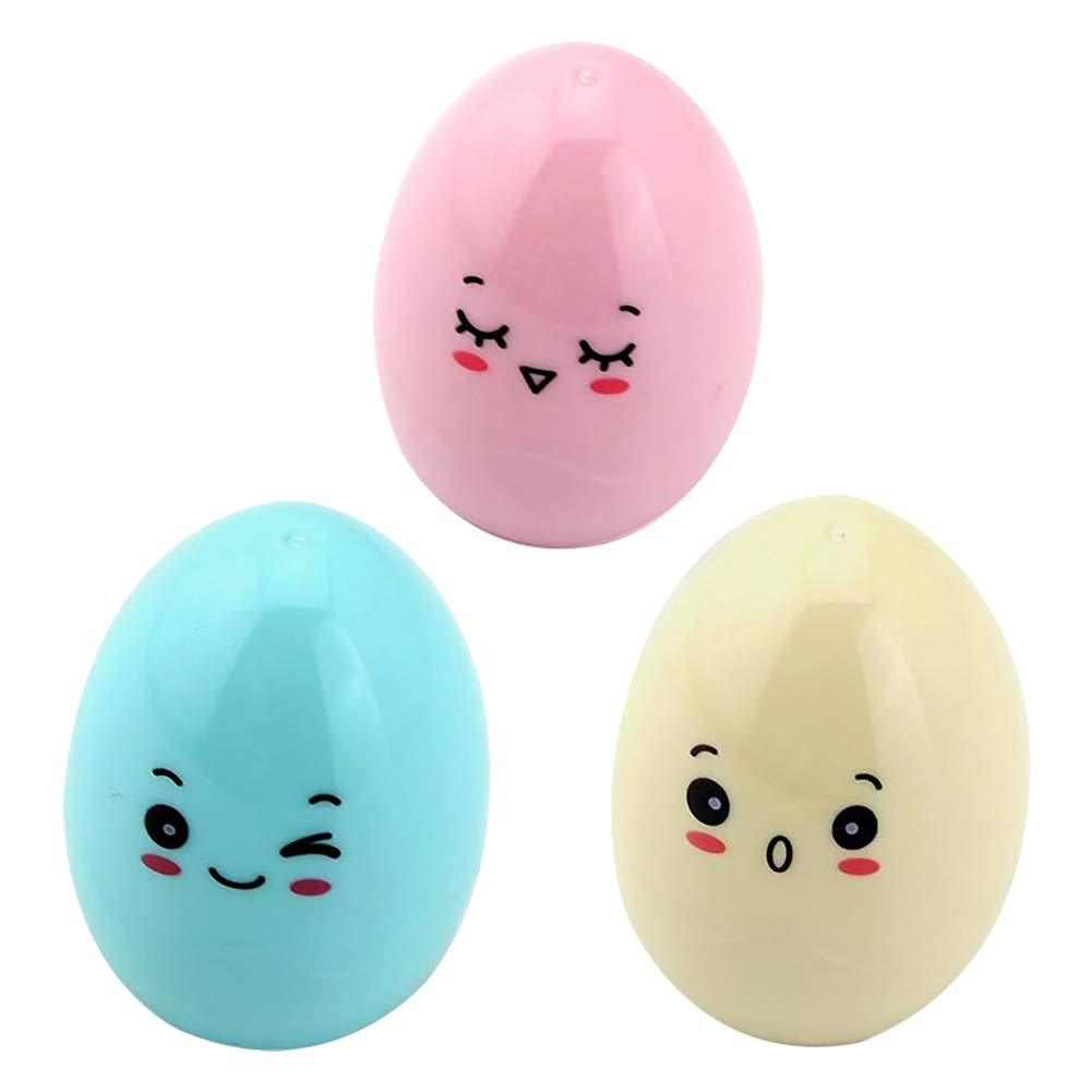 Daliuing Pack of 3pcs Samzary Cute Plastic Manual Egg Shape Pencil Sharpeners for Kids Prizes Size 4.33CM