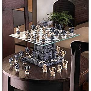 Dragon Themed Glass Chess Set Revolutionary Medieval Games Tournament Kids Modern Standard Tabletop Adult Decor