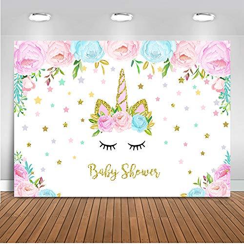 Mehofoto Floral Unicorn Baby Shower Backdrop Baby Shower Photography Backdrop 7x5ft Vinyl Unicorn Theme Baby Shower Party Banner Backdrops]()