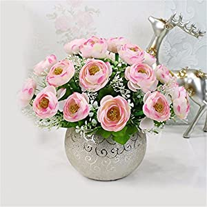 SituMi Artificial Fake Flowers Home Decorating Plastic Bouquets Of Small Potted Plants,Pink Camellia 91