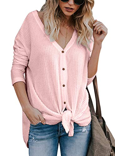 Womens Knit Tunic Blouse V Neck Button Down T Shirts Tie Front Knot Casual Tops(10-m) Pink