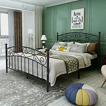Amazon Com Leann Graceful Scroll Bronze Iron Bed Frame