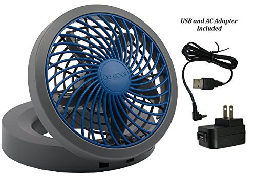 O2COOL 5'' Portable USB or Electric Fan, Blue/Gray